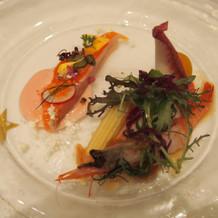 海老と魚の前菜(?)