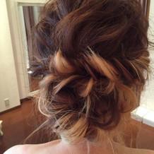 式での髪型。