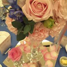 ゲストテーブルに置かれたお花。