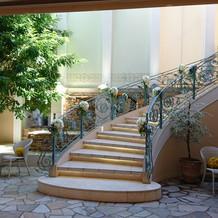 1階の披露宴会場のお庭です。