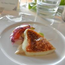 チーズの料理のアップ