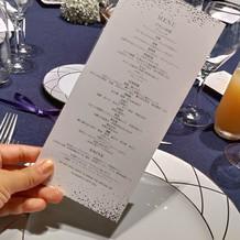 フランス料理と日本料理のメニュー表
