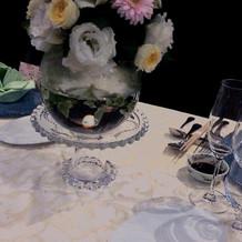 テーブルの花が、華やかです綺麗でした。