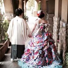 和ドレス+紋付袴。結構いい感じでした!
