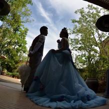 ディズニーのシンデレラドレスをイメージ。