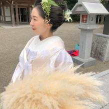 白無垢・日本髪・パンパスグラス