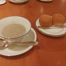 マッシュルームのポタージュとパン