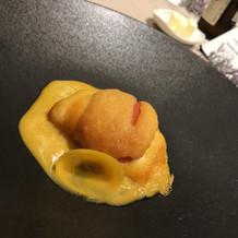 黄色の魚料理  雲丹♡
