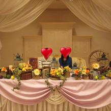 披露宴会場メインテーブルの装飾