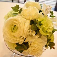 試食をした際のテーブル装花