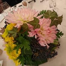 ゲスト卓の生花。新婦の指向が伝わります。