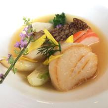 鯛,帆立,伊勢海老と野菜のスープ仕立て