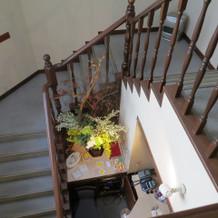 控室等のある2階への階段です。