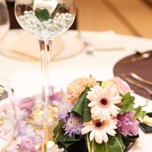 水をそそぐとグラスの中の花が発光します。