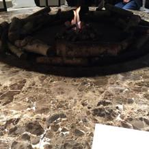 ゲスト待合室にある暖炉