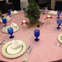 装花、テーブルクロス