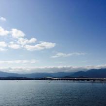 夏の太陽に波がきらめく琵琶湖