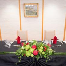 メインテーブル装花(和風イメージ)