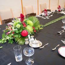 ゲストテーブル装花(和風イメージ)