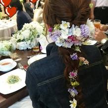 花飾りは手作りしてもらいました