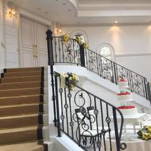 階段付きの披露宴会場