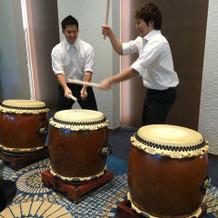 和太鼓を演奏しました。