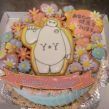 新婦から新郎へのサプライズケーキ