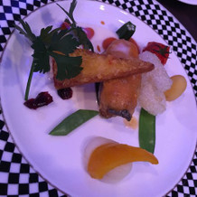 西京太刀魚とタラバ蟹のトンガリハトシ