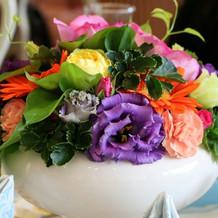 ゲストの卓上花