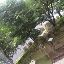 ホテルのお庭。鐘もならせます。