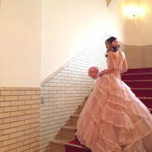 カラードレスにて館内撮影