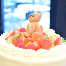 ケーキ。 愛犬をイメージされたそうです。