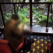 友人ゲストの控室から見えるお庭です