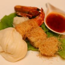 大海老と帆立貝のカダイフ巻き