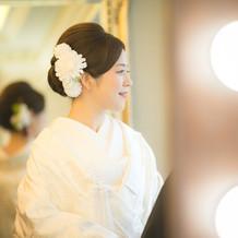 式の髪飾り 白×グリーン