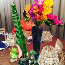 リゾート感のある装花をしてもらいました。