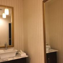 トイレも広く鏡にコメントも書けます