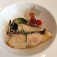 試食会の鯛のシャンパーニュソースです。