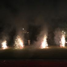 最後は庭で花火!