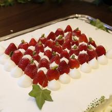 ケーキカットをしたケーキ。