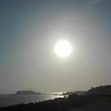 テラスチャペルから見える夕日です。