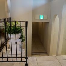 下の階に続く階段(披露宴会場へ)