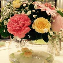 ゲスト席のお花です