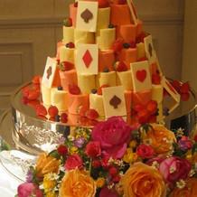 会場と合わせたロールケーキのタワー