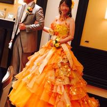 悩みに悩んで選んだカラードレスです。