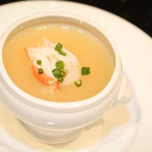 フカヒレとカニのスープ。