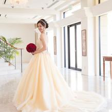 淡い黄色のドレス