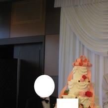 ケーキカット ケーキは高さがあり華やか