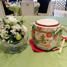 各テーブル、ミニこも樽の鏡開きもしました