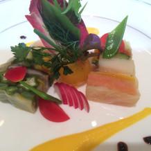 お野菜と海鮮の色合いがきれい